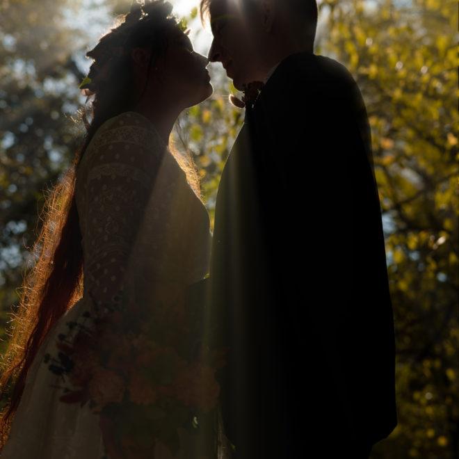 Силуэтная свадебная съемка. Осеняя свадебная фотосъемка в Чистяковской роще г. Краснодар. Художественная свадебная фотосъемка и видео от краснодарского свадебного фотографа